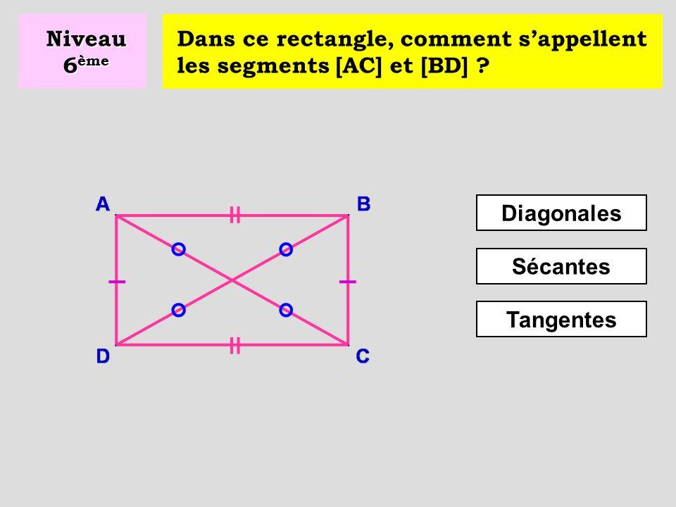 Niveau 6ème Dans ce rectangle, comment s'appellent les segments [AC] et [BD] Diagonales. Sécantes.
